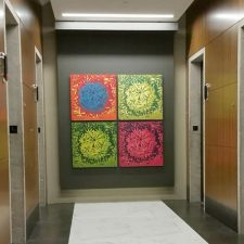 Bloom Ensemble I, 1/1, (4) 3'x3' woodcuts, Trinity Capital Advisors, Charlotte, NC