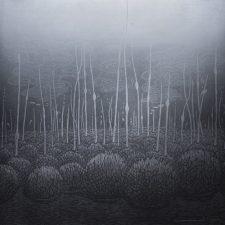 Silver Evolutionary Landscape - var 1 1/1. woodcut, 3'x3'