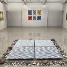 """Floor piece: Waves - var. 14, var. 15, var. 28, var. 30 (3' x3' ea.); Back wall: (6) Spring prints ( 22"""" x 17 1/2"""" ea)"""