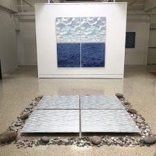 Floor: Waves - var. 14, var. 15, var. 29, var. 30; Wall: Clouds - var. 60, var. 61 & Seascape Diptych 14 (3' x 3' ea.)