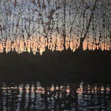 Woodland Landscape III Last Twilight, L, 1/2, woodcut w/ wc, 3'x3'