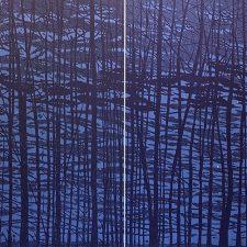 Woodland Landscape VII-B Diptych, 1/2, woodcut, (2) 3'x3'