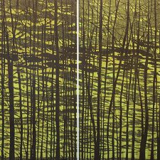 Woodland Landscape VII Diptych w/ gr., State B, 1/3, woodcut, (2) 3'x3'