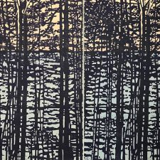 "Woodland Landscape X w/ wc - var. 4 & var. 5 as Diptych, L & R, 1/1, woodcut, (2) 32"" x 24"""
