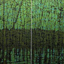 Woodland Reflections gr/y Diptych, 2/2, woodcut, (2) 3'x3'