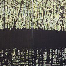 Woodland Reflections gr/y Diptych, 1/1, woodcut, (2) 3'x3'
