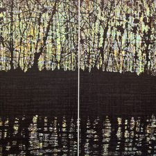 Woodland Reflections I Diptych, 3/4, woodcut, (2) 3'x3'