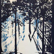 "Woodland Visions - var. 8, 1/1, woodcut, 30"" x 22"""