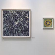 "Woodland Skyscape - var. 113, 1/1; Bulls-Eye 6, 1/, woodcut collage, 12"" x12"""