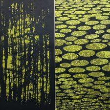 Zumscape Diptych III, 1/1, woodcut, 3'x3'