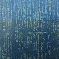 Woodland Landscape IX - var. 1, 1/1 w/ tea-soak, woodcut, 3'x3'