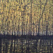 Woodland Landscape VIII w/ wc, T.P. 3, left, 1/1, woodcut, 3'x3'