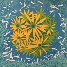 Bloom II, 3/3, woodcut, 3'x3'