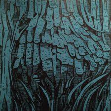 Burl - Blue, 1/4, woodcut, 3'x3'