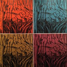 Burl Ensemble, woodcuts, (4) 3'x3'