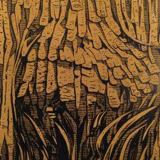 Burl - Ocher, 1/3, woodcut, 3'x3'