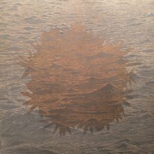 Sea/Bloom, right, 1/1, woodcut rinsed print w/ silver ink, 3'x3'