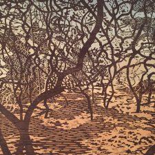 Woodland Landscape II, 1/1, woodcut w/ wc, 3'x3'