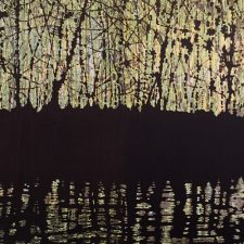 Woodland Reflections - green/yellow, 1/1, woodcut, 3'x6'