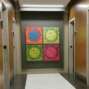 Bloom Ensemble I, 1/1, (4) 3'x3' woodcuts, Trinity Capital Advisors, Charlotte, NC