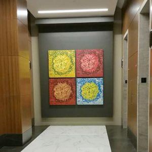 Bloom Ensemble II, 1/1, (4) 3'x3' woodcuts, Trinity Capital Advisors, Charlotte, NC