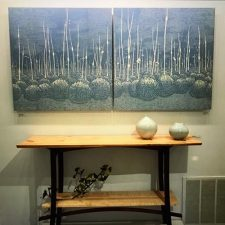Podscape III Diptych, 1/1, woodcut, (2) 3'x3' panels, Massoniart, CREATEart.craft.design