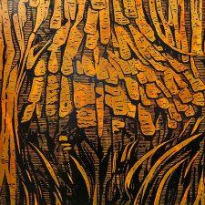 Burl - var. 8, 1/1, woodcut, 3'x3'