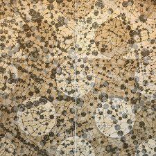 Network Diptych 7, 1/1, woodcut w/ tea, (2) 3'x3'