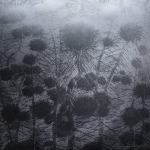 Silver Branching Network - var 1 1/1. woodcut, 3'x3'