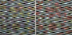 Waves - var. 22, 1/1 & Waves - var. 21, 1/1, woodcut, (2) 3'x3'