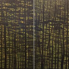 Woodland Landscape VII Diptych, State A, 1/1, woodcut, (2) 3'x3'