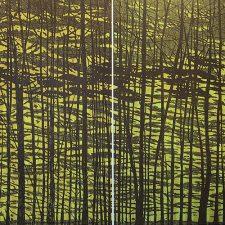 Woodland Landscape VII Diptych w/ gr., State B, 2/3, woodcut, (2) 3'x3'