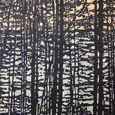 "Woodland Landscape X w/ wc - var. 6, 1/1, woodcut, 32"" x 24"""
