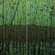 Woodland Reflections gr/y Diptych, 2/2, woodcut, (2) 3'x3'