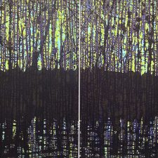 Woodland Reflections purp/gr Diptych, 2/2