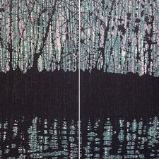 Woodland Reflections turq/purp Diptych, 1/2, woodcut, (2) 3'x3'