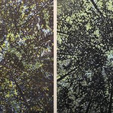 Woodland Skyscape - var. 76,1/1 & Woodland Skyscape - var. 90, 1/1. woodcut, (2) 3'x3'