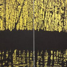 Yellow Woods Diptych, woodcut, (2) 3'x3'
