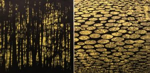 Zumscape Diptych III (L&R), 1/1. woodcut, (2) 3'x3'