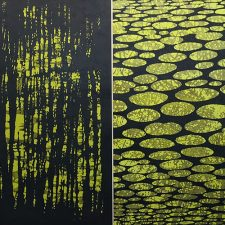 Zumscape Diptych III, 1/1, woodcut, 3'x3'