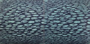 Zumscape IV, 1/6 & 2/6 (as diptych). woodcut, (2) 3'x3'