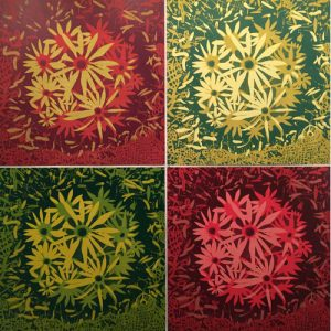 Ensemble of Blooms (var. 25, 60, 38 & 49), woodcuts, (4) 3'x3'