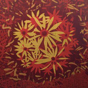 Bloom - var. 25, 1/1, woodcut, 3'x3'