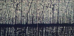 Woodland Landscape VIII Diptych 10, 1/1, woodcut, (2) 3'x3'