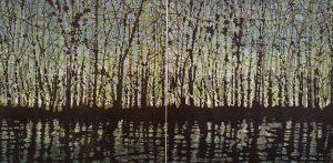 Woodland Landscape VIII Diptych 11, 1/1, woodcut, (2) 3'x3'