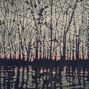 Woodland Landscape VIII w/ wc - var. 1, left, 1/1, woodcut, 3'x3'