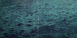 Big Seascape Diptych XII, 1/3, woodcut, (2) 3'x3'