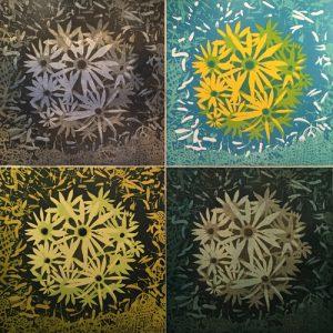 Bloom Ensemble, (4) woodcuts, 3'x3' each