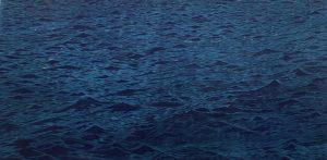 Blue Seascape, 2/3, woodcut, 3'x6'