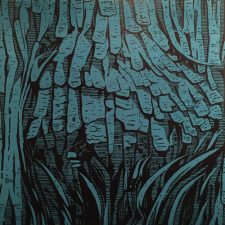 Burl - Blue, 1/4, woodcut, 3'x3'